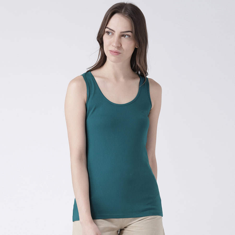 Green Solid Sleeveless T-Shirt