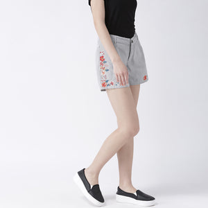 Stripe Shorts With Floral Embroidery