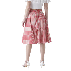 Red Stripe Flared Skirt
