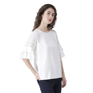 Birch Solid Top With Flared Lace Sleeves