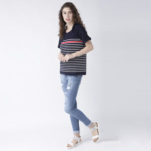 Blue Strip Basic Top