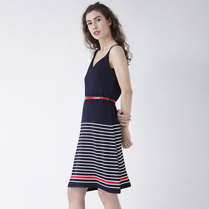Blue Strip Dress With Belt