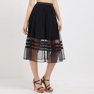 Black Self Design Skirt with Drawstring Closure