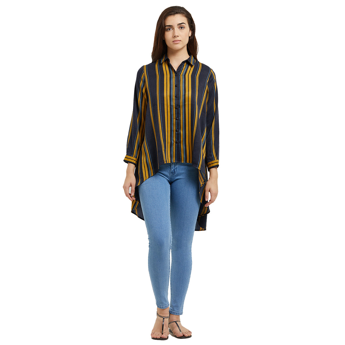 Navy Blue and Yellow Stripes High Low Shirt - www.109F.com 84decf4d29908