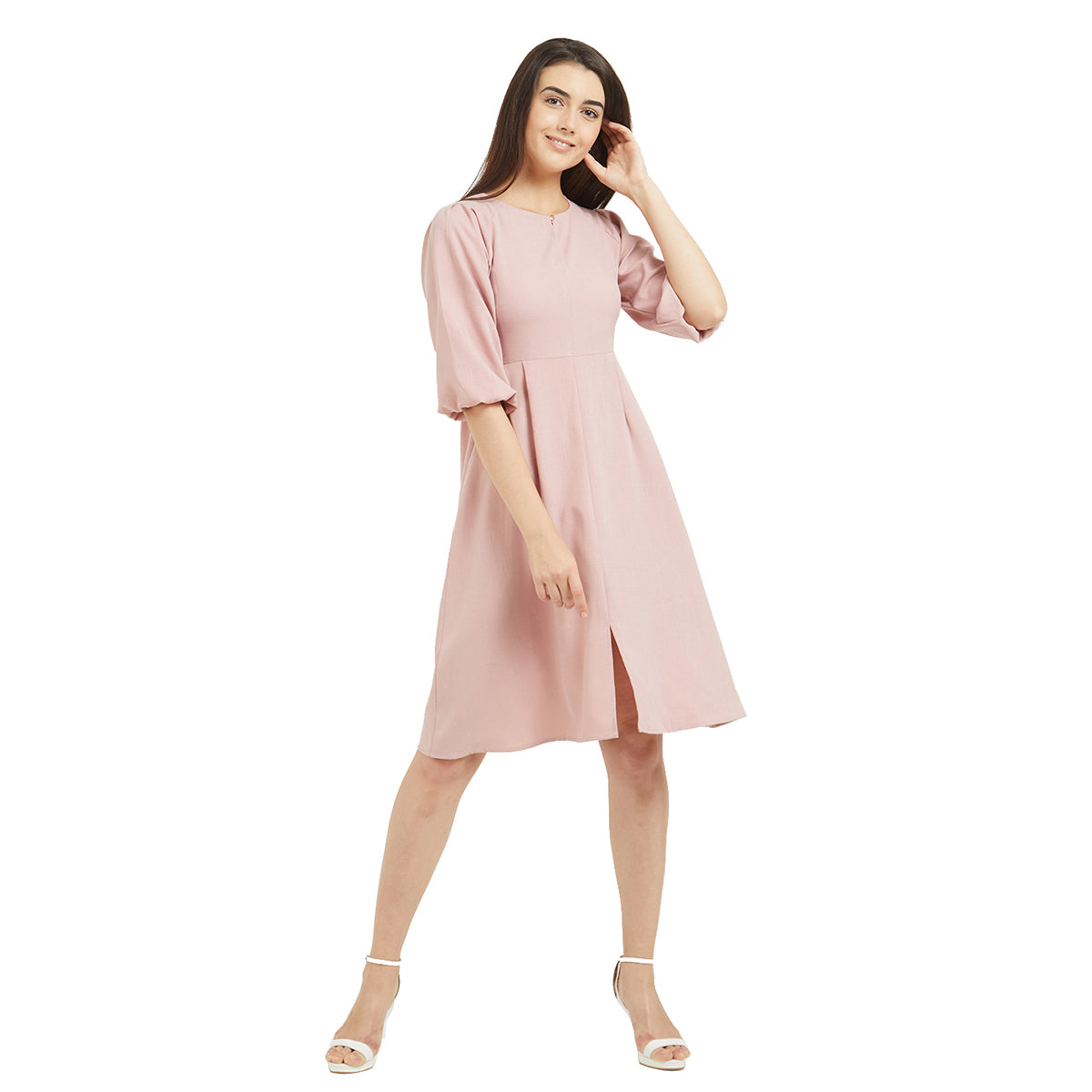 4f162bd19a Home Products Blush Solid Knee Length Dress. FALSE