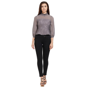 Grey High Neck Lace Top