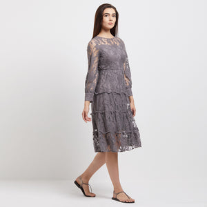 Grey Lace Dress with Long Sleeves