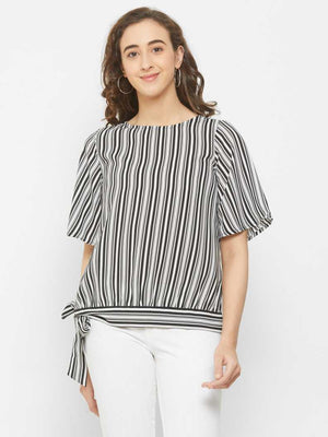 Black Stripe Top With Side Tie Up