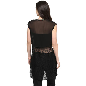 Black Long Lace Shrug With Cap Sleeves