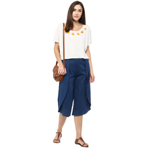 Blue Solid Layered Culotte