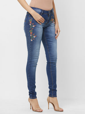 Blue Light Wash Denim With Embroidery