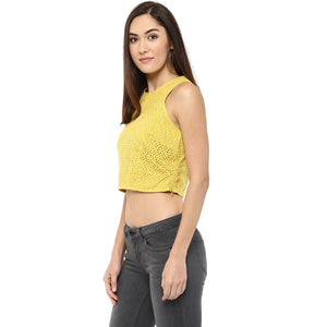 Yellow Self Design Crop Top