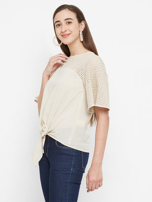 Beige Embroidered Sleeves Top