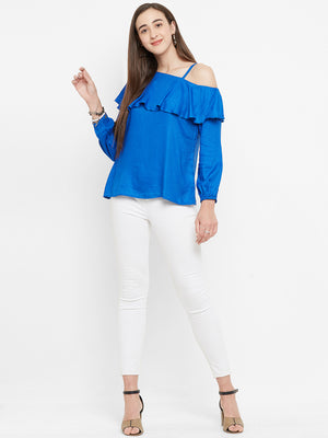 Blue One Shoulder Self Design Top