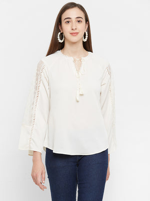 Beige Lace Sleeves Top