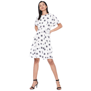 109F White Printed Dress With Tie Up At Waist