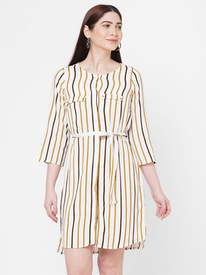 Beige Stripes Dress