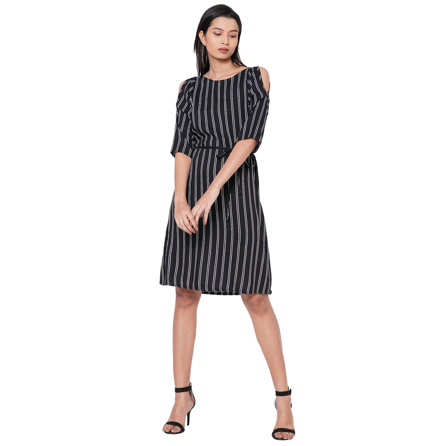 109F Black Stripe Dress