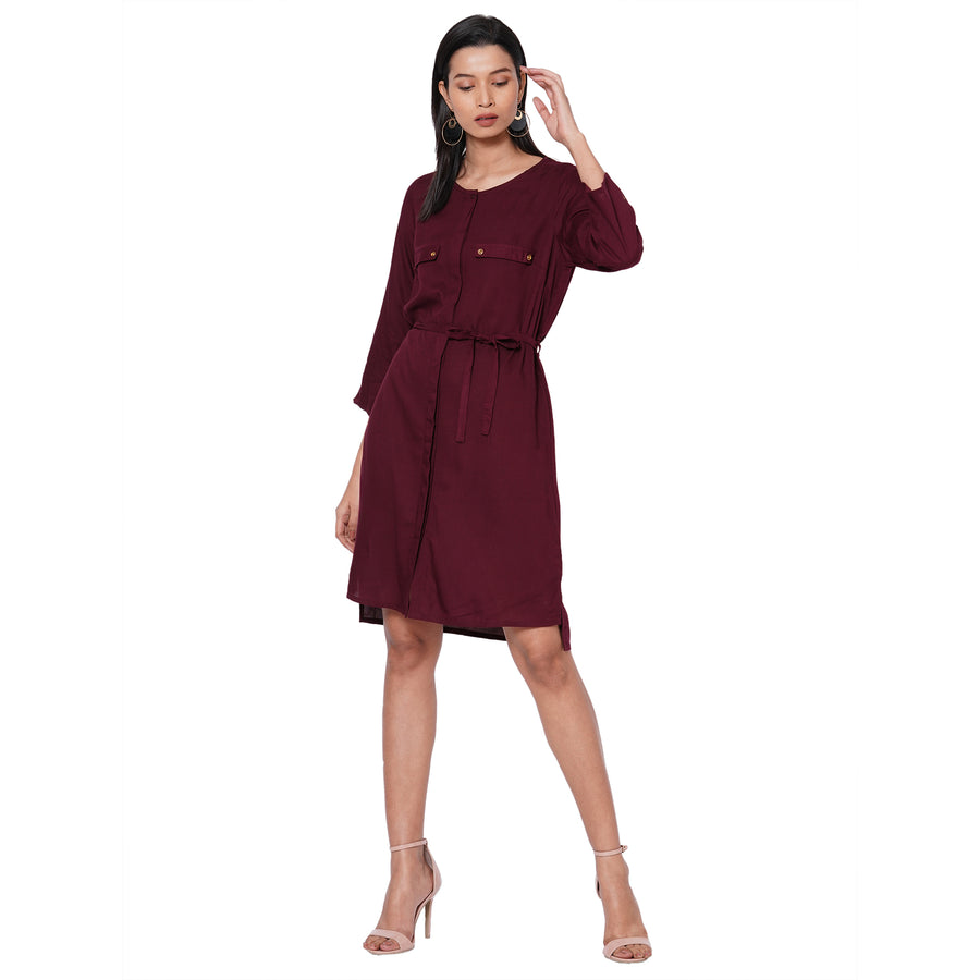 109F Maroon Soild Dress