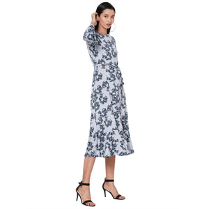 109F Grey Printed Dress With Bell Sleeves