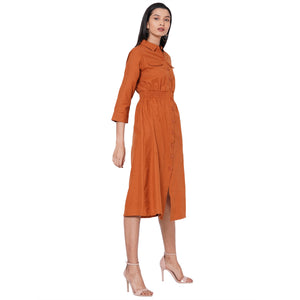 109F Rust Soild Dress