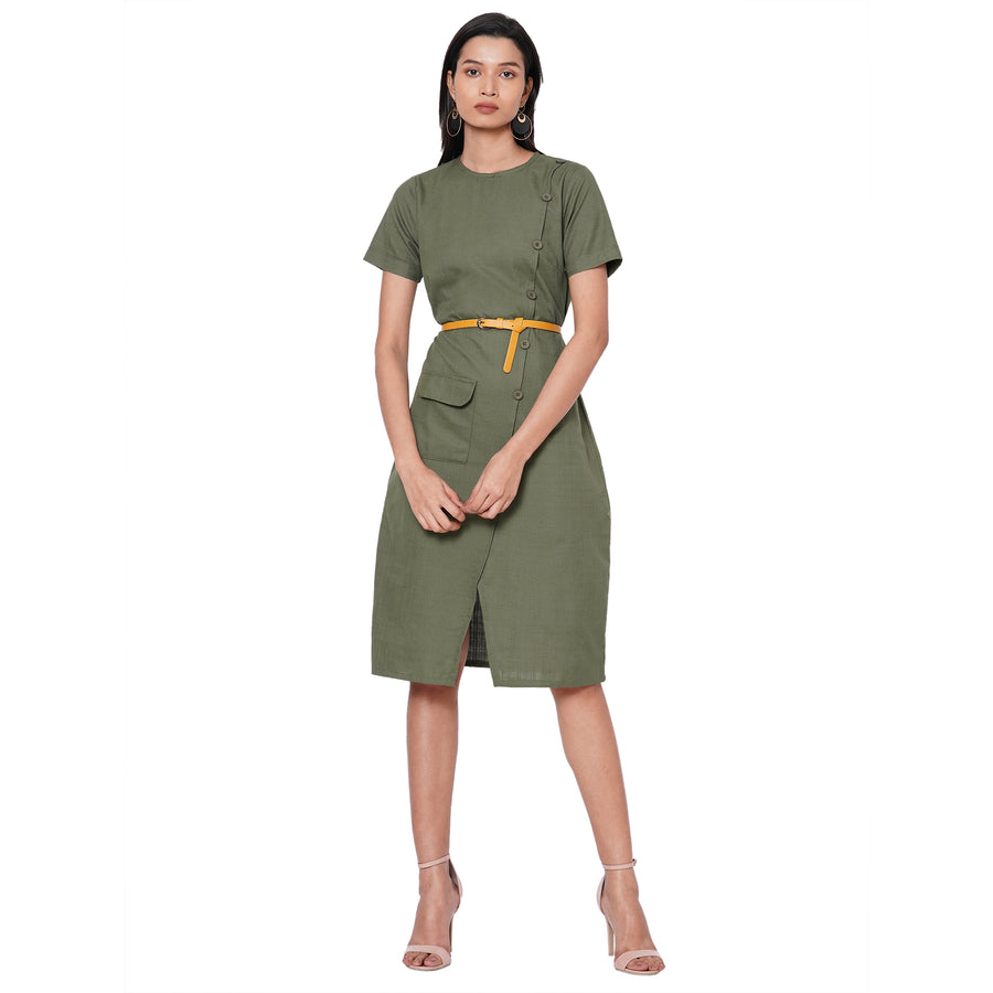 109F Green Soild Dress With Belt & Face Mask