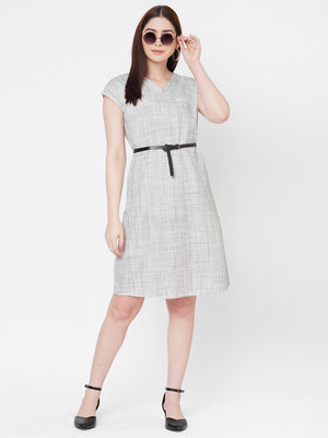 Grey Cap Sleeves Dress With A Belt