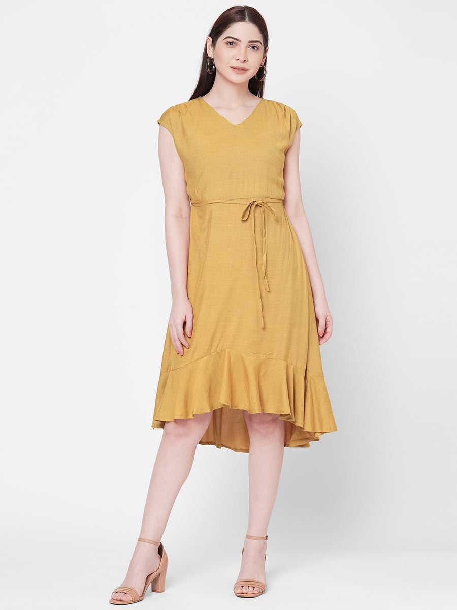 Yellow Dress With Tie Up At Waist