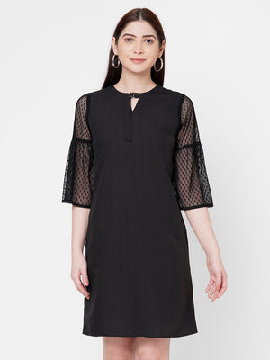 Black Dress With Net Sleeves