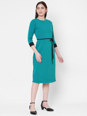 Teal Green Dress With Tie Up At Waist