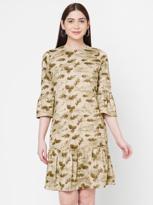 Beige Printed Dress With Bell Sleeves