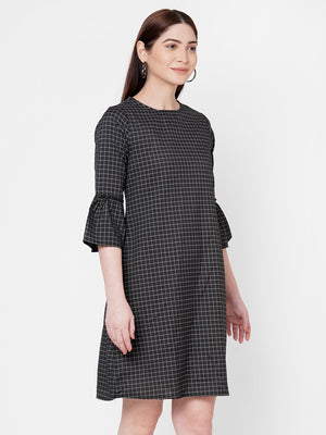 Black Checkered Dress With Bell Sleeves