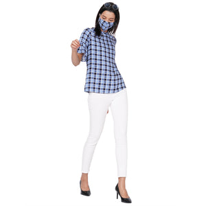 109F Blue Checkered Top With Mask