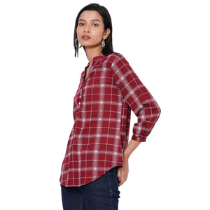109F Maroon Checkered Top
