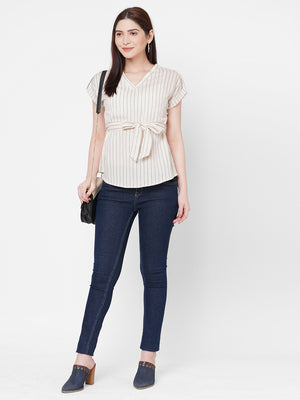 Grey Stripes Top With Tie Up Belt