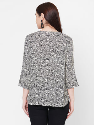 Grey Printed Top