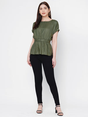 Olive Short Sleeves Top