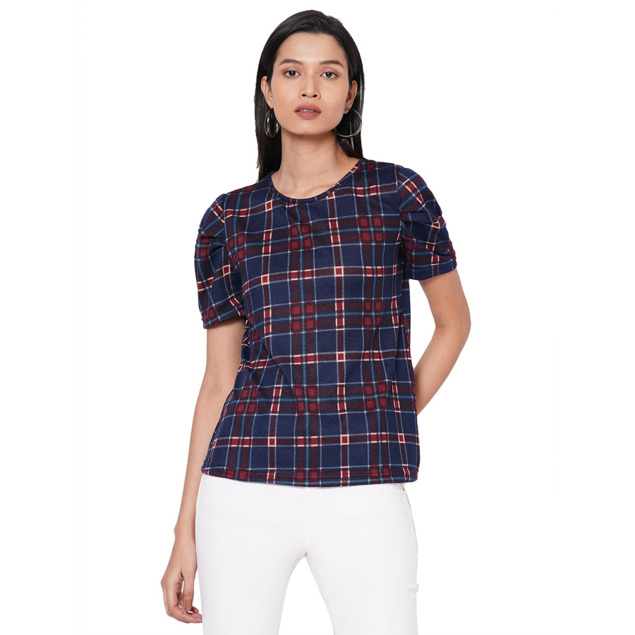 109F Navy Checkered Top