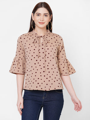 Brown Top With Bell Sleeves