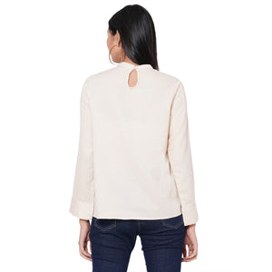 109F Beige Solid Full Sleeves Top