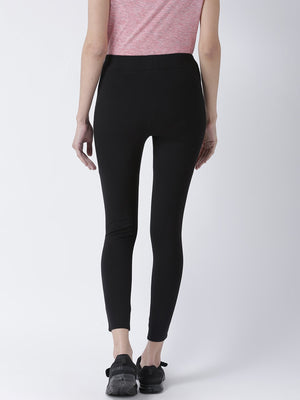 Black Soild Slim Fit Jeggings-8907540189801