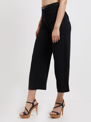 Black Casual Culotte Pant with Belt