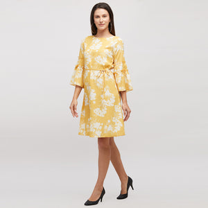 Yellow Printed Dress With Bell Sleeves