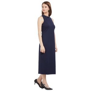 Blue Sequence Neck Dress