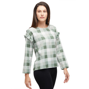 Green Checkered Full Sleeves Top