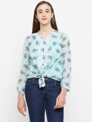 Teal  Printed Top With Front Knot
