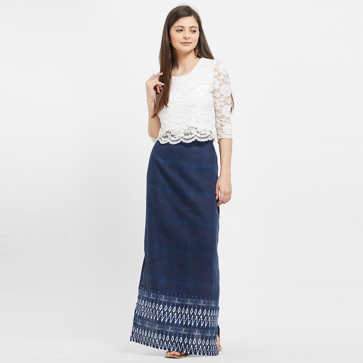 official photos timeless design fast delivery Dark Blue Long Skirt With Side Slits