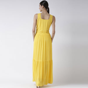 Yellow Embroidered Yoke Maxi Dress