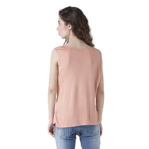 Solid Sleeveless Top With Front Knot