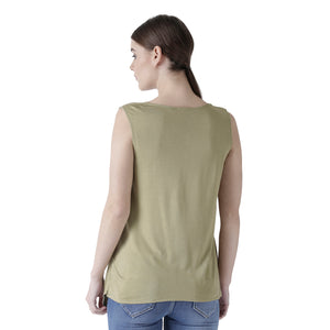 Green Solid Sleeveless Top